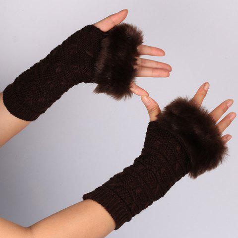 Affordable Winter Faux Rabbit Fur Knitting Butterfly Hand Fingerless Gloves DEEP BROWN