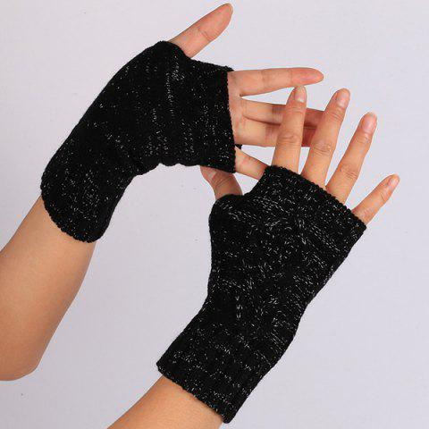Sale 1 Pair Warm Rhombus Line Crochet Fingerless Gloves BLACK