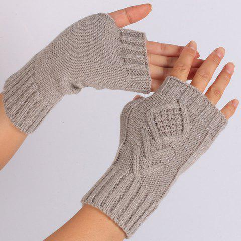Latest 1 Pair Warm Rhombus Line Crochet Fingerless Gloves GRAY