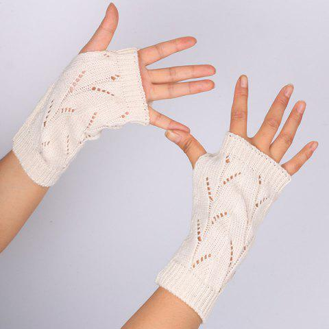 Fancy Branch Pattern Crochet Hand Fingerless Gloves OFF WHITE