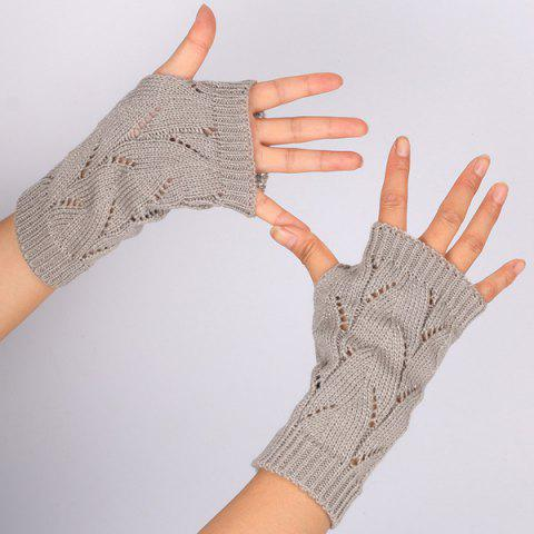 Branch Pattern Crochet Hand Fingerless Gloves - Gray