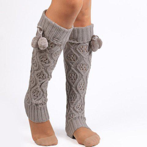 Online Flanging Small Ball Infinity Knitted Leg Warmers GRAY
