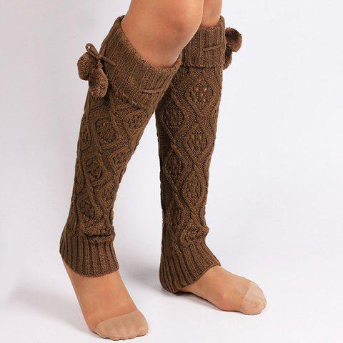 Affordable Flanging Small Ball Infinity Knitted Leg Warmers GOLD BROWN