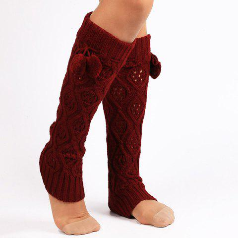 Best Flanging Small Ball Infinity Knitted Leg Warmers DEEP RED