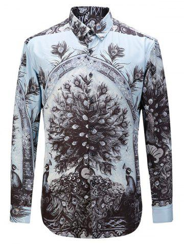 Outfits 3D Peacock Print Turn-down Collar Long Sleeve Shirt
