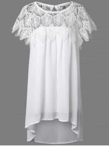 Latest Lace Panel Chiffon Tunic Casual Dress - 5XL WHITE Mobile