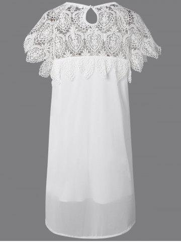 Shop Lace Panel Chiffon Tunic Casual Dress - 5XL WHITE Mobile