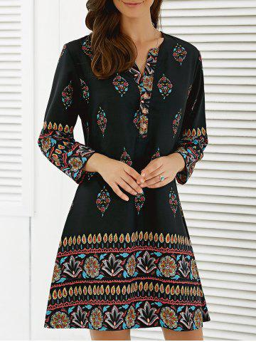 Floral African Casual Long Sleeve A Line Short Dress - Black - L