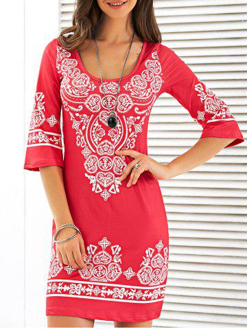 Shops Scoop Neck Mini Printed Dress RED L