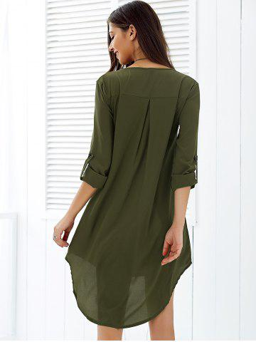 Buy Asymmetrical V Neck Casual Knee Length Going Out Dress - M ARMY GREEN Mobile