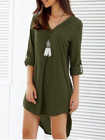 Asymmetrical V Neck Casual Knee Length Going Out Dress - Army Green - M