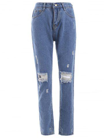 Shop Fresh Distressed Ripped Loose-Fitted Pencil Jeans DENIM BLUE 2XL