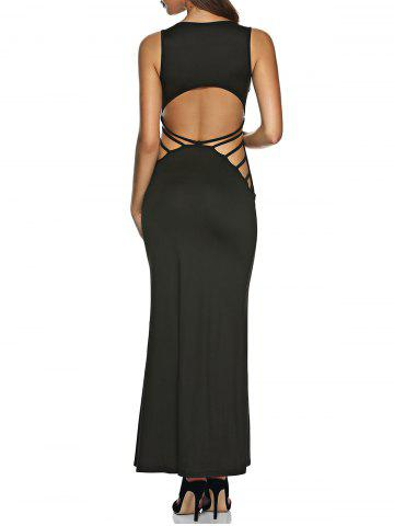 Fancy U Neck Cutout Back Maxi Dress