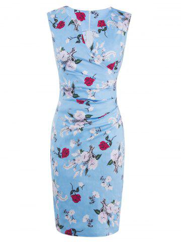 Trendy Floral Sleeveless Bodycon Ruched Bandage Dress LIGHT BLUE 2XL