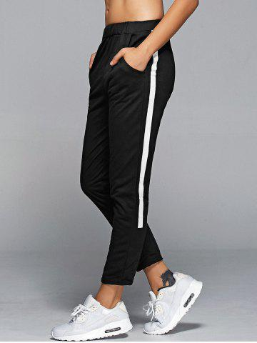 Best High Waisted Side Stripe Jogger Sporty Pants BLACK ONE SIZE