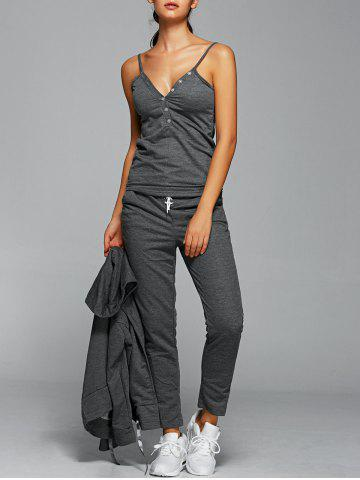 Store Active Cami Top With Drawstring Pants With Hoodie - M GRAY Mobile