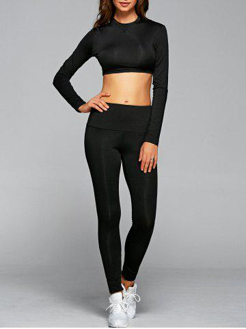 New Long Sleeve Cropped T-Shirt With Leggings Gym Outfits