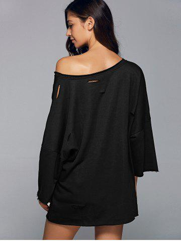 Fashion Long Sleeve Sloping Shoulder Ripped Sweatshirt - L BLACK Mobile