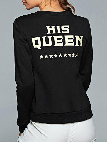 Buy Round Neck Letter Print Sweatshirt - M BLACK Mobile