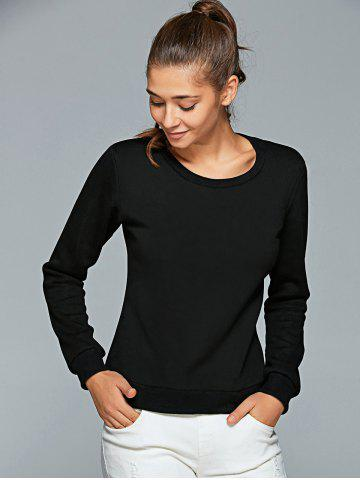 Outfits Round Neck Letter Print Sweatshirt - S BLACK Mobile