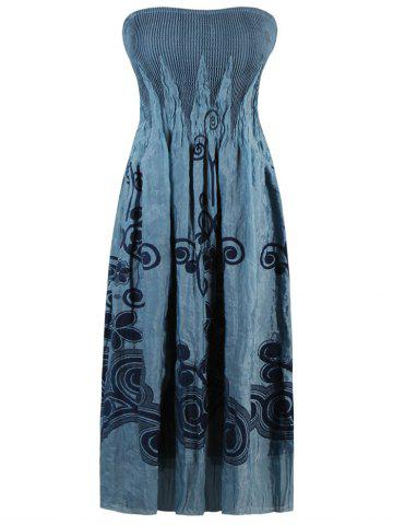 Floral Embroidered Smocked Strapless Dress - GREY BLUE ONE SIZE