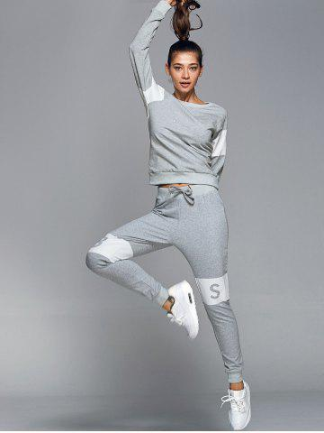 Chic Letter Pattern Sweatshirt With Pants Gym Outfits - L LIGHT GRAY Mobile