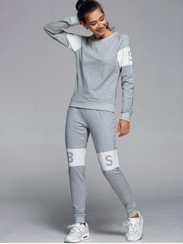 Outfits Letter Pattern Sweatshirt With Pants Gym Outfits - L LIGHT GRAY Mobile
