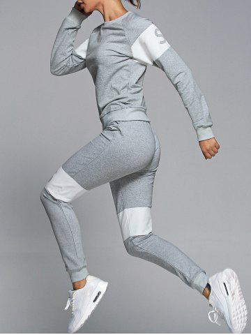 Outfit Letter Pattern Sweatshirt With Pants Gym Outfits - L LIGHT GRAY Mobile