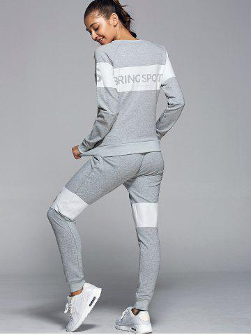 Hot Letter Pattern Sweatshirt With Pants Gym Outfits - L LIGHT GRAY Mobile