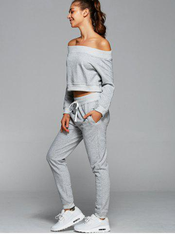 Cheap Off The Shoulder Sweatshirt With Pants Gym Outfits - L LIGHT GRAY Mobile