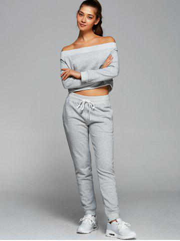 Hot Off The Shoulder Sweatshirt With Pants Gym Outfits - L LIGHT GRAY Mobile