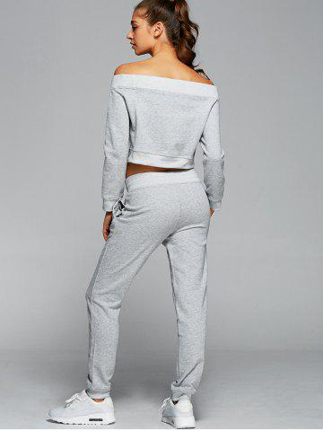 Sale Off The Shoulder Sweatshirt With Pants Gym Outfits - L LIGHT GRAY Mobile