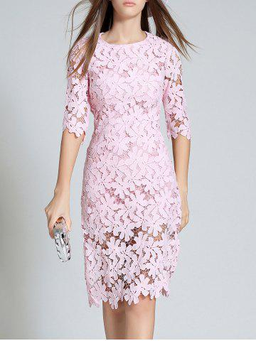 Trendy Round Neck 3/4 Sleeve Full Lace Bodycon Dress