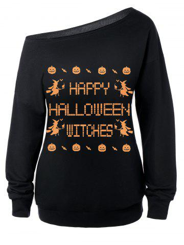 Shop Skew Neck Witches Print Halloween Sweatshirt