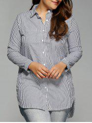Plus Size Long Sleeve Stripe High Low Shirt - WHITE