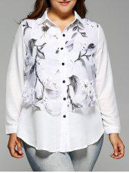Plus Size Long Sleeve Floral Print Faux Twinset Shirt - WHITE 5XL