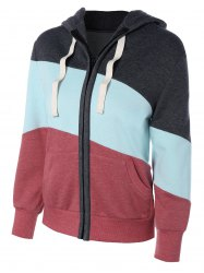 Long Sleeve Drawstring Patchwork Zip Up Hoodie - COLORMIX XL