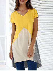 Fashionable V-Neck Short Sleeve Contrast Color Loose-Fitting Blouse - COLORMIX XL