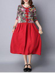 Long Sleeve Floral Cheongsam Button Midi Dress