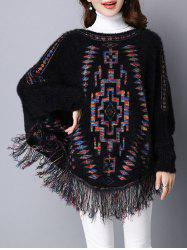 Loose Dolman Sleeve Fleece Fringed Swater