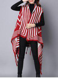Zigzag Stripe Fringed Asymmetric Sweater Cardigan -