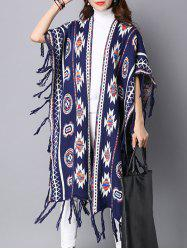 Geometric Pattern Fringed Long Sweater Cape Cardigan -
