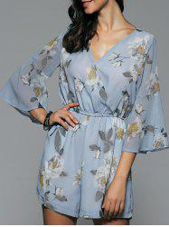 V Neck Bell Sleeve Chiffon Floral High Waisted Romper -