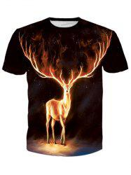 Round Neck 3D Flame Elk Print Galaxy T-Shirt - BLACK