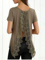 Back Slit Lace Splicing T-Shirt