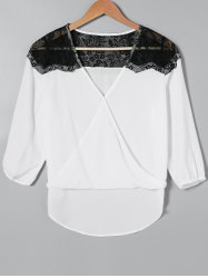Lace Splicing High Low Hem Blouse -