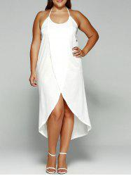 Halter Asymmetrical Plus Size Night Out Dress - WHITE