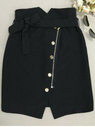 Belted Zipper Design Skirt -