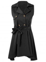 Belted Sleeveless Asymmetrical Dress -