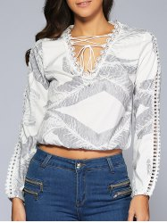 Crochet-Trim Lace-Up Leaf Print Crop Top -